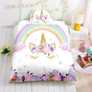 Personalized Custom Floral Unicorn Eyelashes Bedding Set – Unicorn Gift For Girls – Unicorn Bedroom Set