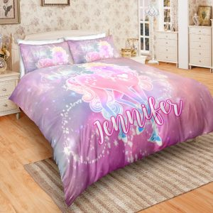 Personalized Custom Glowing Unicorn Bedding Set – Unicorn Gift For Girls – Unicorn Bedroom Set