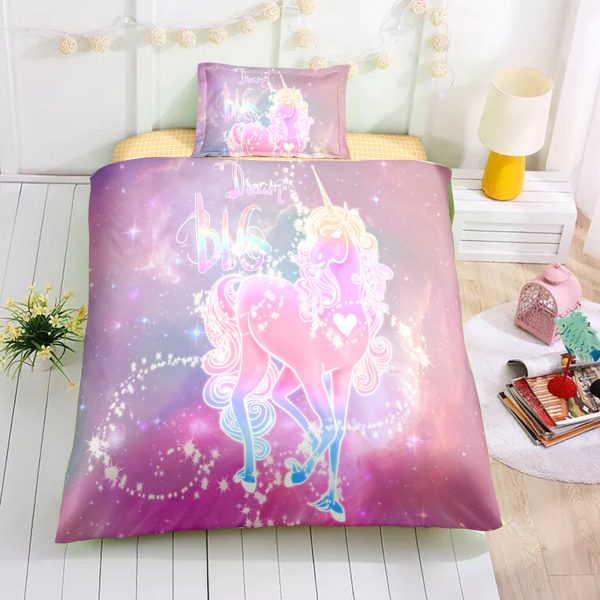 Personalized Custom Glowing Unicorn Bedding Set – Unicorn Gift For Girls – Unicorn Bedroom Set