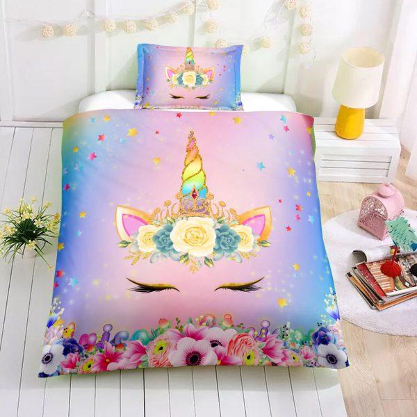Personalized Custom Princess Unicorn Lash Bedding Set – Unicorn Gift For Girls – Unicorn Bedroom Set