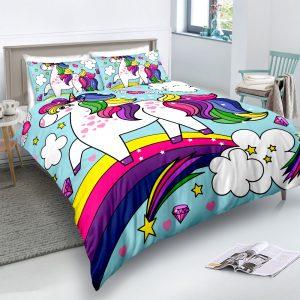 Personalized Custom Rainbow Unicorn Bedding Set – Unicorn Gift For Girls – Unicorn Bedroom Set