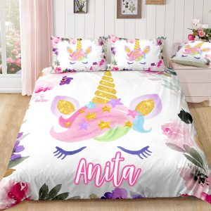 Personalized Flower Unicorn Lash Bedding Set