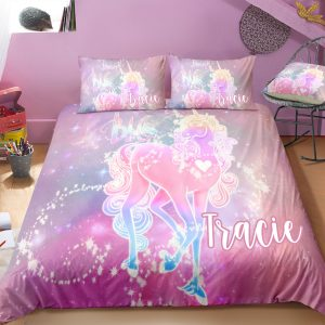 Personalized Glowing Unicorn Bedding Set