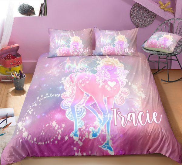 Personalized Glowing Unicorn Bedding Set