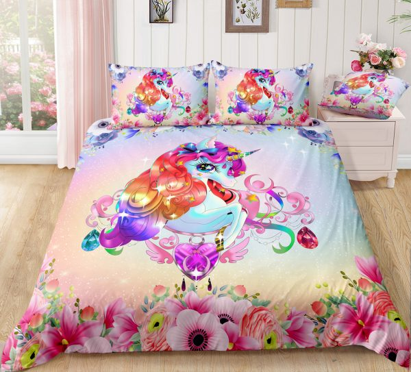 Pinky Floral Unicorn Queen Bedding Set