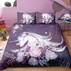 Plum Purple Unicorn & Flowers Bedding Set