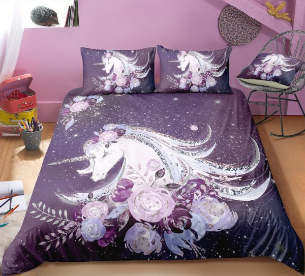 Plum Purple Unicorn & Flowers Bedding Set