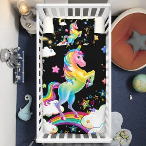 Rainbow Unicorn & Sparkling Stars Crib Bedding Set