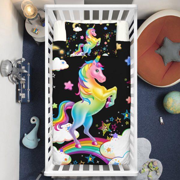 Rainbow Unicorn & Sparkling Stars Crib Bedding Set