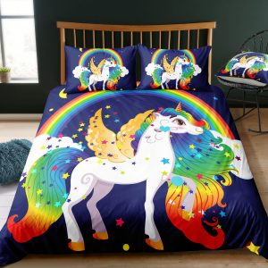 Sparkling Rainbow Unicorn & Wings Bedding Set