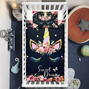 """Sweet Dream"" Unicorn Wreath Crib Bedding Set"