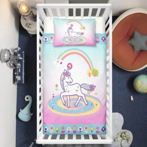 Unicorn Lady Surrounded By Rainbow Crib Bedding Set
