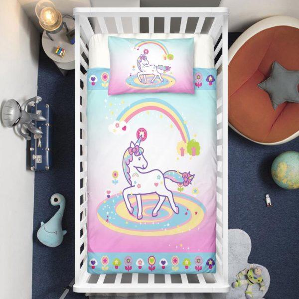 Unicorn Lady Surrounded By Rainbow Crib Bedding Set