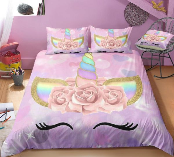 Shiny Bubbles & Hearts With Unicorn Wreath Bedding Set