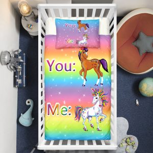 """You&Me"" Rainbow Unicorn Crib Bedding Set"