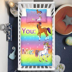 """You&Me"" Rainbow Unicorn Crib Bedding Set"