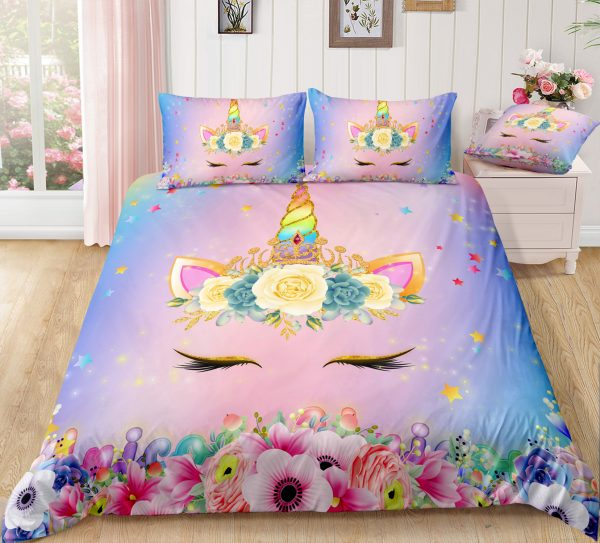 Holographic Unicorn & Floral Wreath Bedding Set