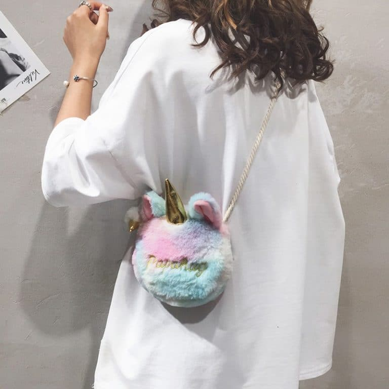 Plush Furry Unicorn Cross-Body Bag