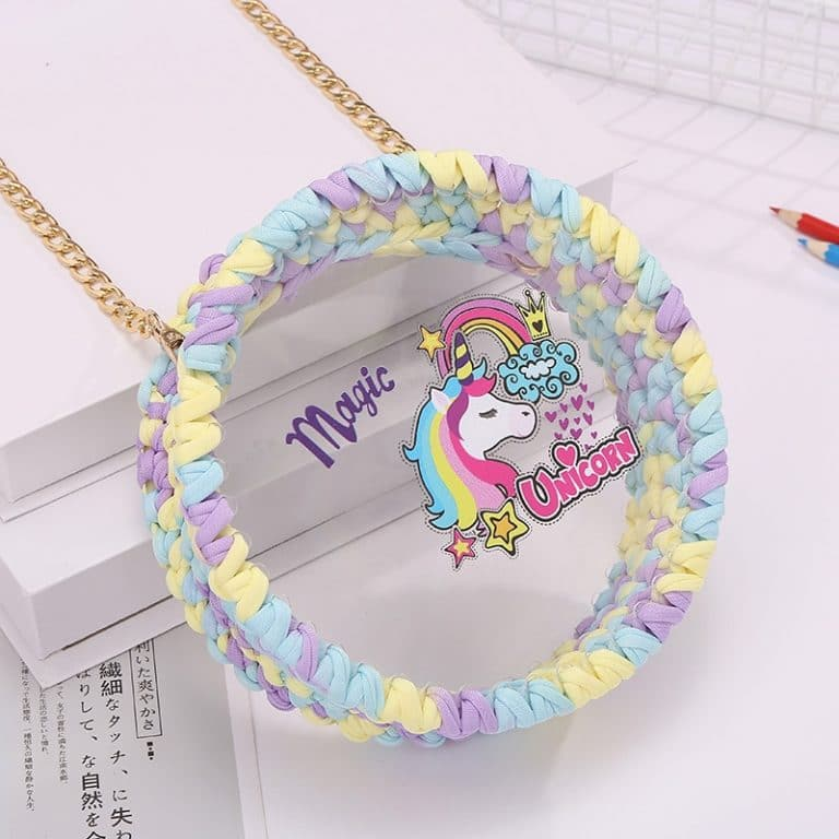 Unicorn Hand Knitting Round &Transparent Shoulder Bag