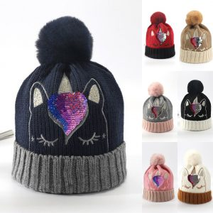 Bling Bling Sequins Crochet Knitted Unicorn Bobble Hat