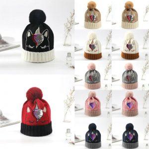 Bling Bling Sequins Crochet Knitted Unicorn Bobble Hat