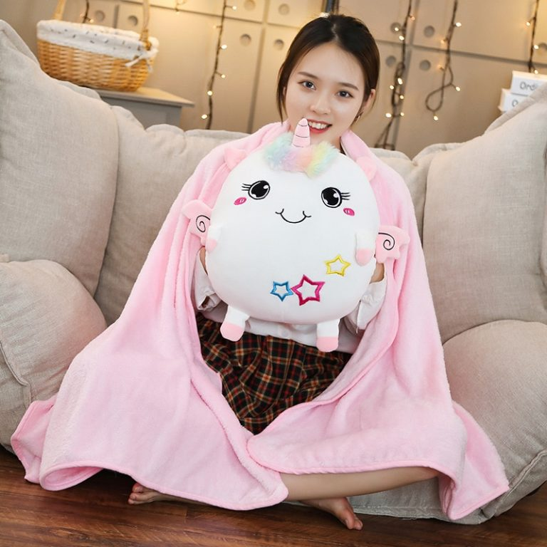 Super Soft Unicorn Pillow with Blanket Inside