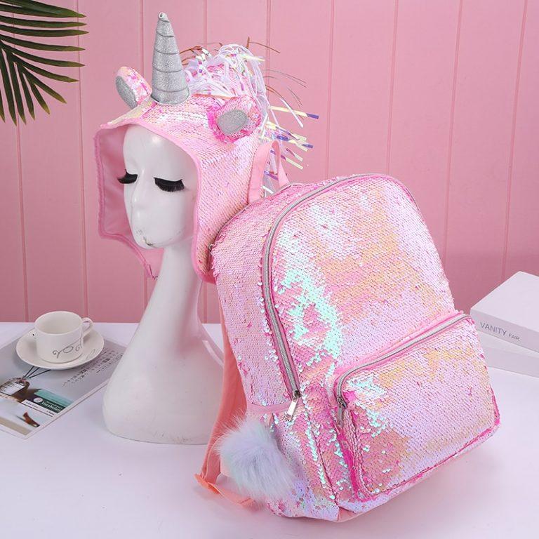 Hologram Sequin Unicorn Hooded Backpack
