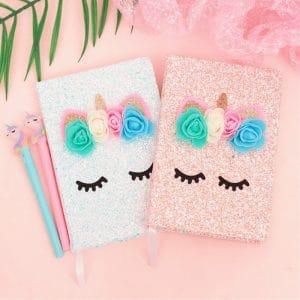Colorful Glittering Powder Fairy Unicorn Notebook