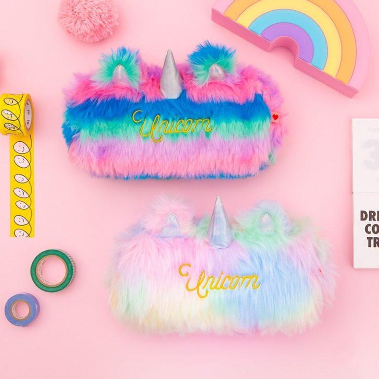 Fluffy Rainbow Unicorn Pencil Case