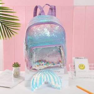 Glitter Sequin Unicorn Versus Mermaid Transparent Backpack