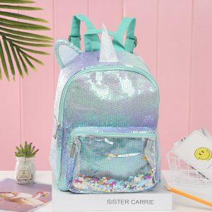 Glitter Sequin Unicorn Versus Mermaid Transparent Backpack