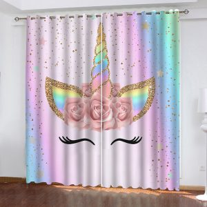 Rainbow Flower Unicorn Waterproof Curtain