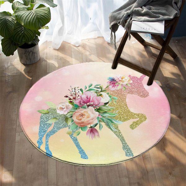 Lovely Unicorn Round Carpet