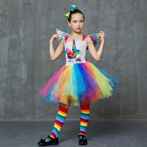 Set of Unicorn Rainbow Tutu Dress