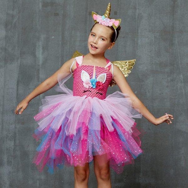 Glittery Unicorn Princess Pageant Flower Tutu Dress