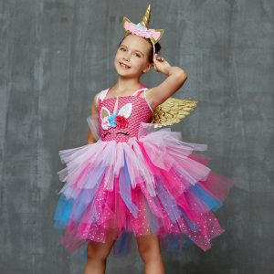 Glittery Unicorn Princess Pageant Flower Tutu Dress
