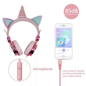Cute Bling-Bling Unicorn Wired Headphone With Microphone