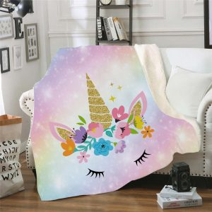 Unicorn Eyelashes Fleece Throw Blanket