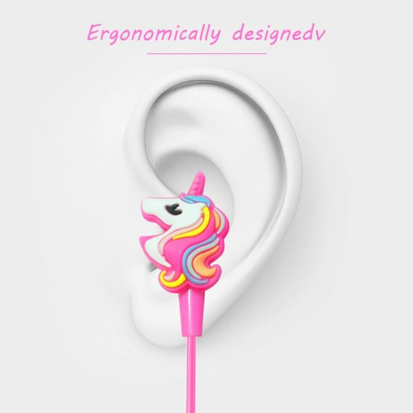 Colorful Unicorn Headphones With Cable Organizer