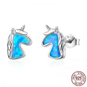 925 Sterling Silver Unicorn Charming Earrings