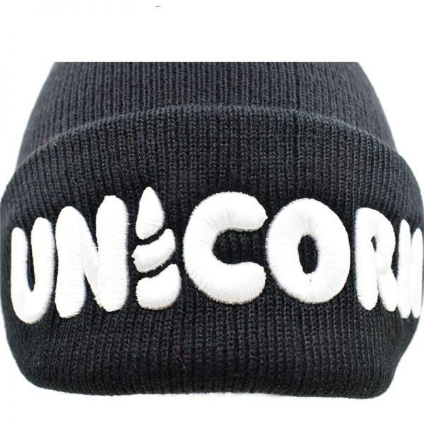 Black Unicorn Beanie Hat