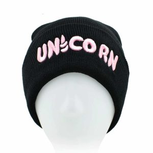 Black Unicorn Beanie Hat