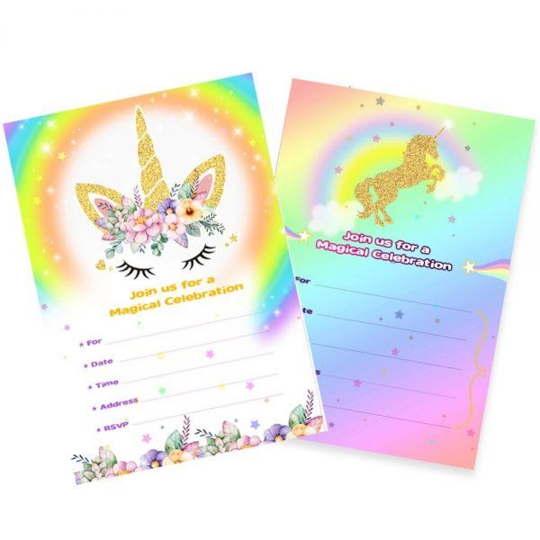 Birthday Unicorn Rainbow Invitation Cards