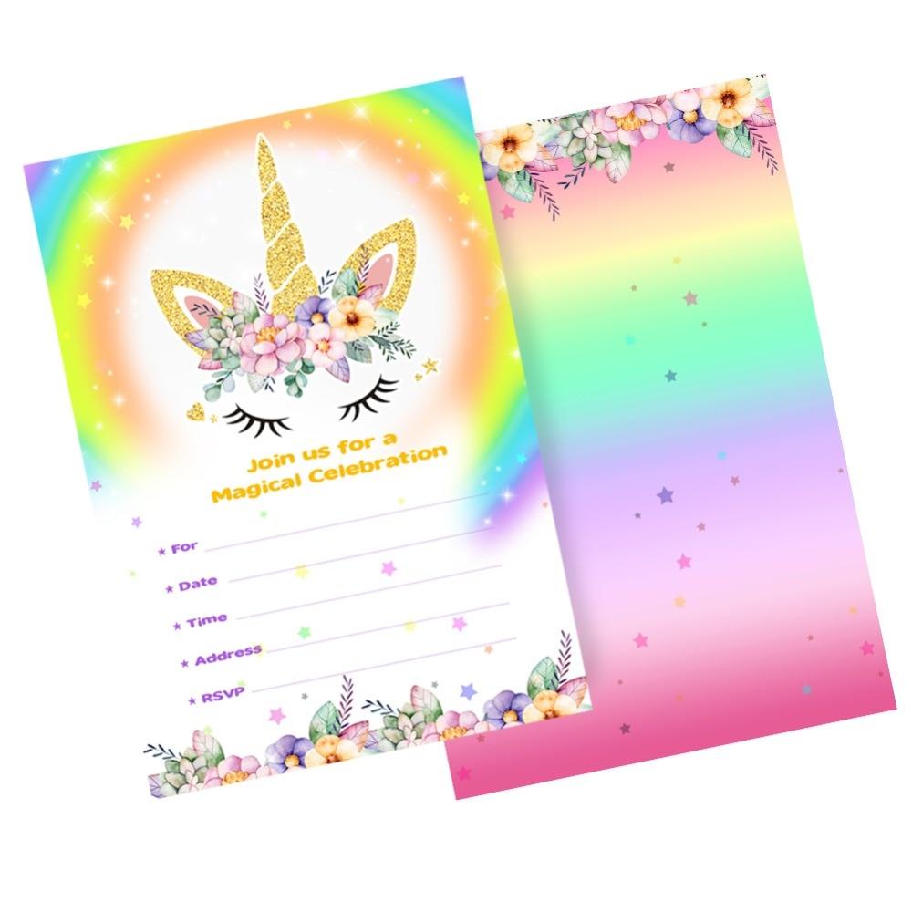 birthday unicorn rainbow invitation cards  unilovers