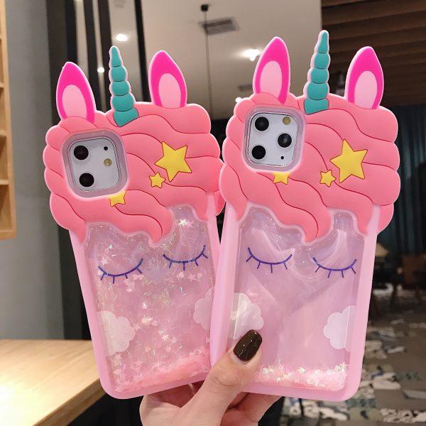 3D Glitter Unicorn iPhone Case