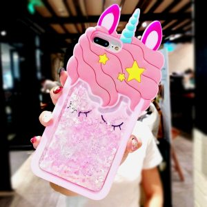 3D Glitter Unicorn iPhone Case
