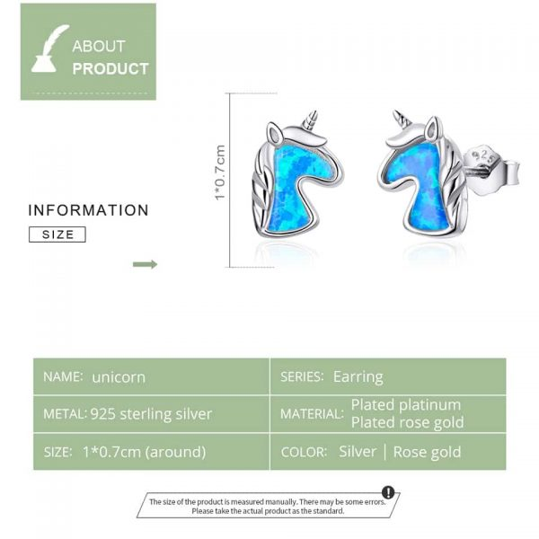 925 Sterling Silver Unicorn Charming Earrings