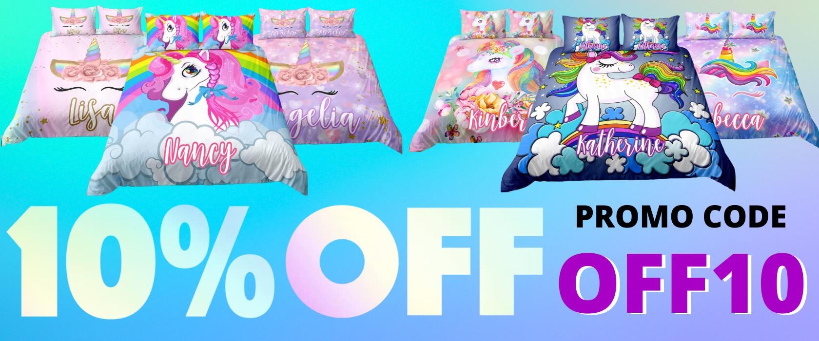 Personalized Unicorn Bedding Set