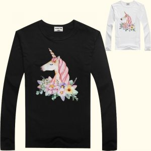 Floral Unicorn Long Sleeve T-shirt