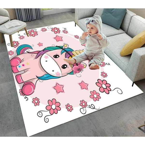 Kids Unicorn Stars Flowers Rugs And Carpets
